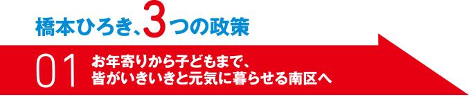 橋本ひろき、3つの制作 01 お年寄りから子供まで、皆がいきいきと元気に暮らせる南区へ